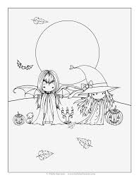 Two Little Witches Free Halloween Coloring