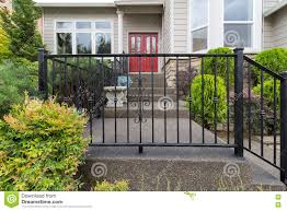 House Railings House Front Entrance With Wrought Iron Railings Stock Photo
