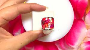 フットネイル暖色カラーでお花柄ネイルのやり方 読むtube