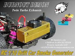rc 1 10 drift car smoke generator burnout demon twin turbo exhaust redx fluid