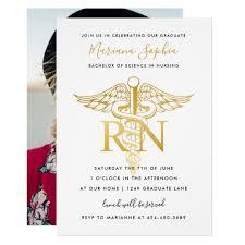 Graduation Party Announcement Bsn Rn Nurse Graduation Party Announcement Gold Zazzle Com