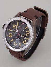 nixon 48 20 chrono leather watch antique copper brown
