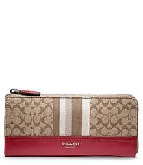 COACH LEGACY SIGNATURE STRIPE SLIM ZIP WALLET