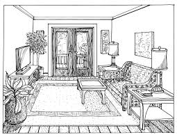 drawing furniture plans. floor plan and onepoint perspective line drawing hand furniture plans d