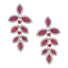 crystal leaf chandelier earrings red