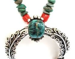eclectic vintage native american necklace sterling silver naja turquoise c beads