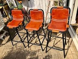 brown leather bar stools. Image Is Loading 3-Metal-Brown-Leather-Bar-Stools-Industrial-VIntage- Brown Leather Bar Stools C
