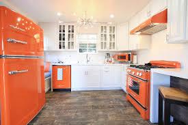 Orange Retro Kitchen Appliances with Modern Touch transitional-kitchen