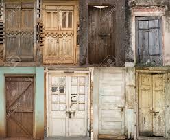 Old Doors Set Of Old Doors Old Wooden Door With Cracked Paint Background