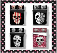 wongsbedline black skull bedding set duvet cover black red twin queen king size bedclothes a cover with zipper closure not a comforter skull with