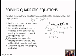 17 solving quadratics completing the square 1 4