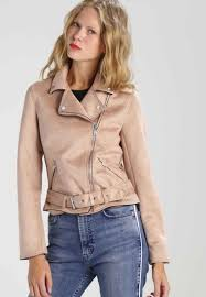 new look copper suedette biker faux leather jacket light pink for women