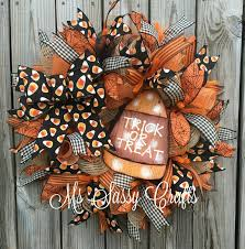 Halloween Wreath - Halloween Deco Mesh Wreath - Candy Corn Deco Mesh Wreath  - Trick or