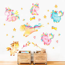 com decalmile unicorn wall decals kids room wall decor childrens nursery baby room wall stickers home kitchen