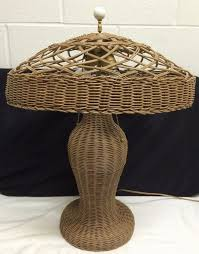 antique e1900s arts crafts mission stickley style wicker table lamp 2 bulb wicker tablecraftsman lightinggustav