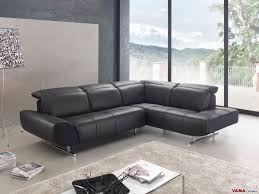 contemporary black leather corner sofa with chromed steel feet zoom