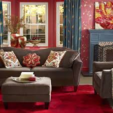 Red And Blue Living Room Interior Home Decor Items In Living Room Such As Floral Print