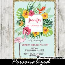 Tropical Party Invitations Flamingo Party Invitations Pastel Tropical Floral Gold Glitter
