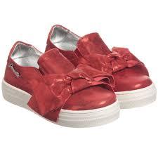 simonetta girls red leather slip on shoes childrensalon