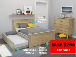 Solid Timber Bedroom Furniture Dandenong Trundle Bed Double Kids Beds B2c Furniture