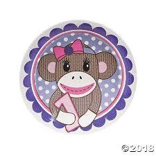 1st Birthday Miss Sock Monkey Dinner Plates