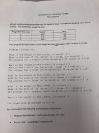 Large Envelope Postage Chart Solved Specification 03 Calculating Postage Prof Lambias