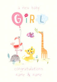 A New Baby Girl Congratulations Personalised Card