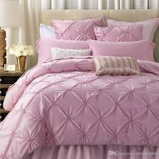 luxury pink silk cotton bedding set handmade ruffle diamond pattern duvet cover bedsheet pillowcases queen king wedding gift black duvet bedding ensembles