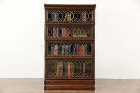 oak 1900 antique stacking bookcase 4 leaded glass doors globe macey