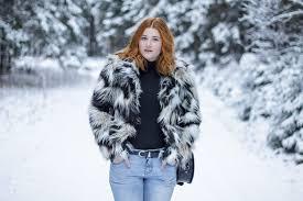 h m faux fur coat faux fur jacket redhead blogger gap boyfriend jeans zara boots turtle neck