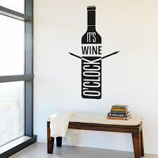 pretty design wine bottle wall art elegant decal vinyl sicker it s o clock room home black