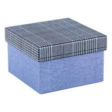 Square Blue Box with Plaid Lid