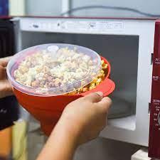 Yeni FDA silikon kırmızı patlamış mısır katlanabilir kase ev mikrodalga  mısır patlatma makinesi kase mikrodalga güvenli patlamış mısır Bakingwares  kova Bowls
