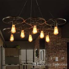 pendant lights creative wheel chandelier lamps personalized american european industrial vintage chandeliers cloth cafe club bar ceiling light shades