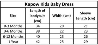 Baby Dress Length Chart Kapow Kids Baby Dress Size Chart Annie And Islabean Kids