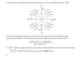 Unit Circle Sin Cos Tan Chart Solved 1 Using The Unit Circle Below To Find The Exact V