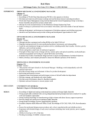 Resume Sample Engineering Mechanical Engineering Manager Resume Samples Velvet Jobs 16