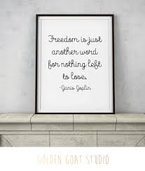 janis joplin quote freedom is just another word rose gold copper wall art faux foil room decor digital download printable art on rose gold wall art quotes with janis joplin quote freedom is just another word rose gold copper