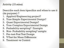 Simple True Experimental Design Pre Activity 1 Recap 2 Talkie Time Experimental