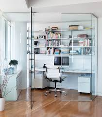 open space home office. This Apartment Features A Glass Enclosed Home Office Space, That Keeps Sound Out, But Open Space