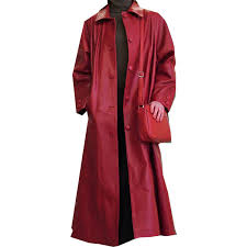 a red color long leather las coat