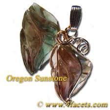sle photo of a custom facets 14k gold filled bicolor sunstone wire wrap pendant