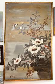 lee reynolds asian style painting of flowers an