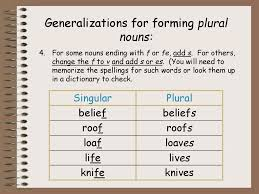 plural form of knife the problem of singular and plural semantics of different groups of