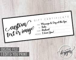 Customized Gift Certificates Custom Gift Certificate Christmas Gift Certificate Gift