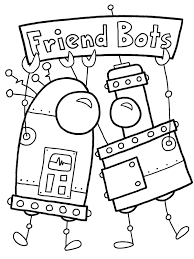 robot coloring book pages with valentine printable