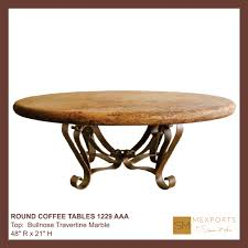 Iron And Stone Coffee Table Coffee Round Table Iron Base Chocolate Finish Copper Natural