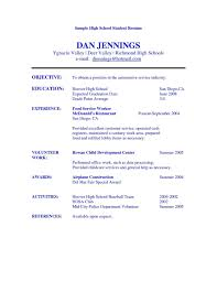Simple High School Resume Examples Resume Basic Template Cover Letter Simple Functional