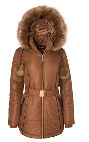 sportoli sportoli women s down alternative long belted puffer coat with fur trim detachable hood antique x large com