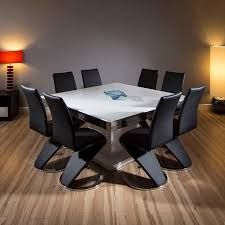 sentinel quatropi large square dining set walnut table 8 high back black chairs